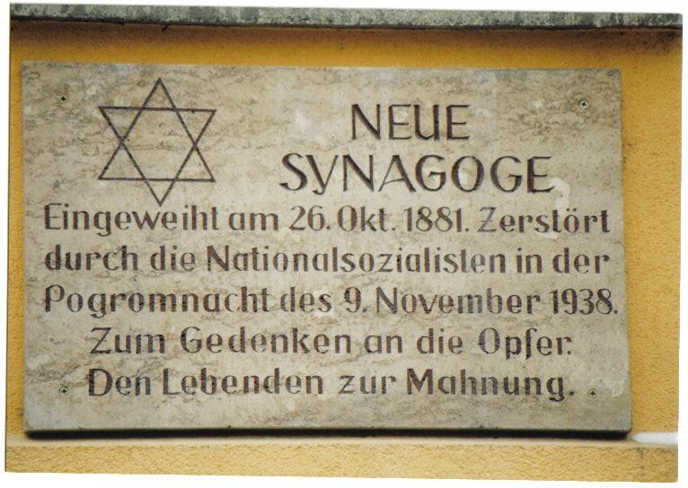 Gedenktafel an der ehemaligen Synagoge